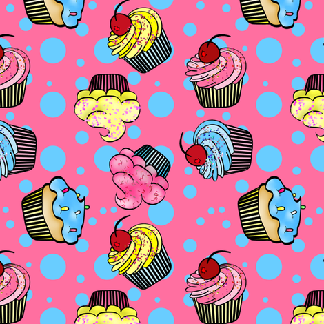 Little Cup Cakes- Pink fabric by mystikel on Spoonflower - custom fabric