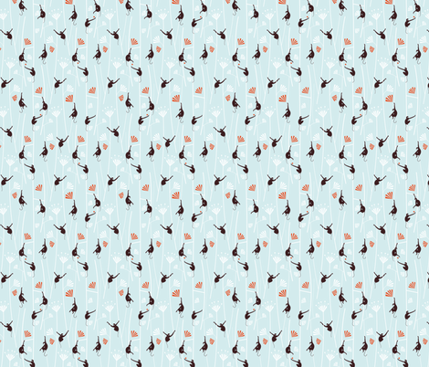 Small Monkey Art Deco Monkey Light_Blue fabric by happy_to_see on Spoonflower - custom fabric