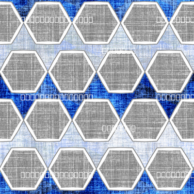 Modern faux linen hexagon in blue and gray
