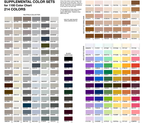 SUPPLEMENT to Practical 1100 Color Chart ©2011 by Jane Walker fabric by artbyjanewalker on Spoonflower - custom fabric