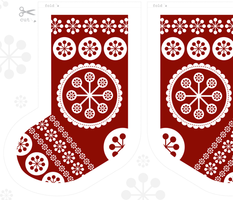 Christmas Stockings x 4 Cut and Sew Pattern fabric by mondaland on Spoonflower - custom fabric