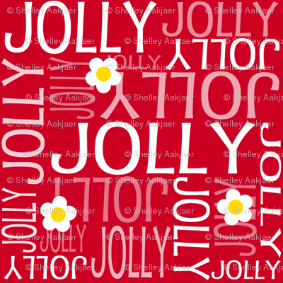 Personalised Name Fabric - Daisies on Red