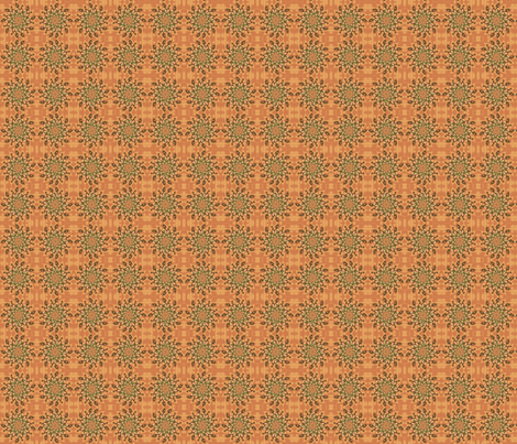Green Pinwheel on Orange © Gingezel 2011 fabric by gingezel on Spoonflower - custom fabric