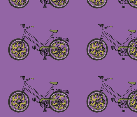 purple bike fabric by luluhoo on Spoonflower - custom fabric