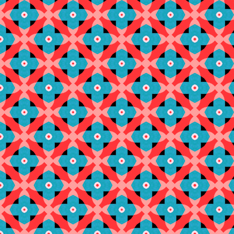 Retro Blue Red Pink Mosaic fabric by stoflab on Spoonflower - custom fabric