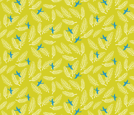 white feathers & blue birds fabric by bethan_janine on Spoonflower - custom fabric