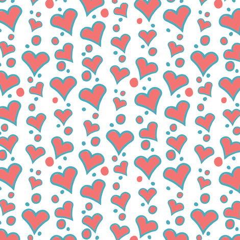 Falling Hearts fabric by kezia on Spoonflower - custom fabric