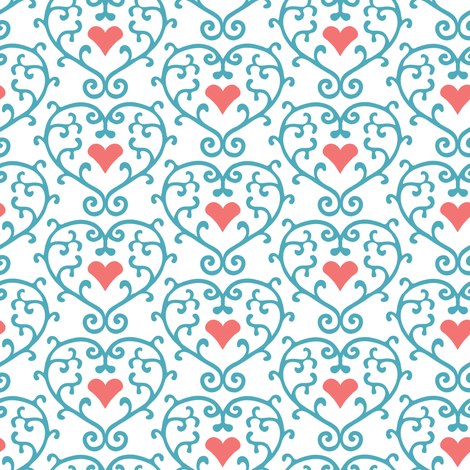 Caged Heart White fabric by kezia on Spoonflower - custom fabric