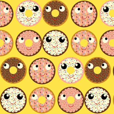 donuts yellow fabric by heidikenney on Spoonflower - custom fabric