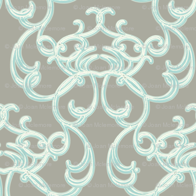 Damask Light Blue on Gray