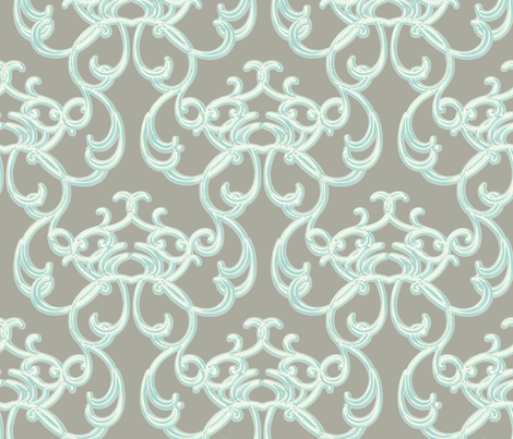 Damask Light Blue on Gray  fabric by joanmclemore on Spoonflower - custom fabric