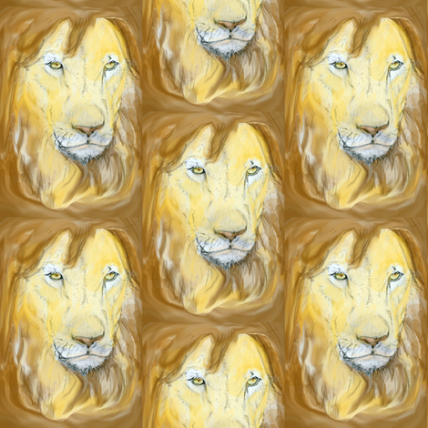 Lion portrait fabric by eclectic_house on Spoonflower - custom fabric