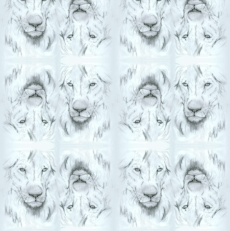Lion portrait monochrome2 fabric by eclectic_house on Spoonflower - custom fabric