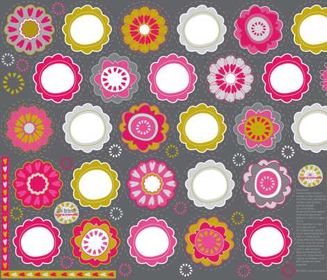 Hearty Flowers - Personalised Hanging Ornaments fabric by zoebrench on Spoonflower - custom fabric