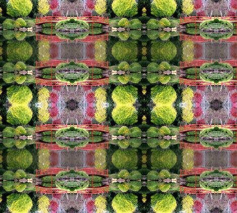Japanese gardens Toowoomba red bridge. fabric by itsjustgreat on Spoonflower - custom fabric