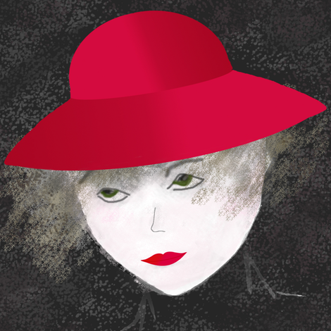 Woman_with_red_hat fabric by itsnaart_fabric on Spoonflower - custom fabric