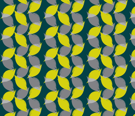 Leaf Strokes in Lemon Lime Teal and Grey