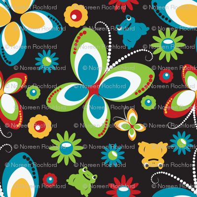 retro butterfly frog-black