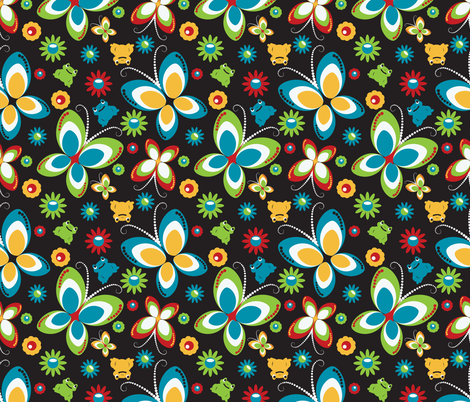 retro butterfly frog-black fabric by deesignor on Spoonflower - custom fabric