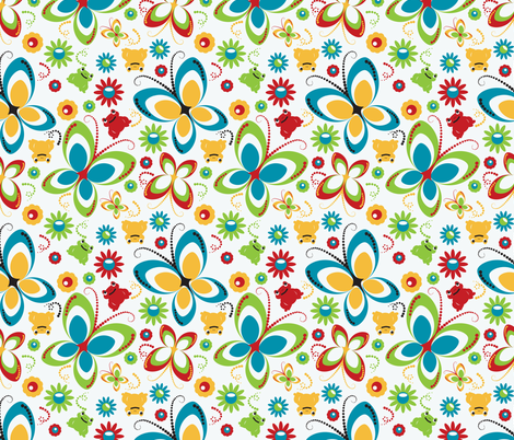 retro butterfly frog-white fabric by deesignor on Spoonflower - custom fabric
