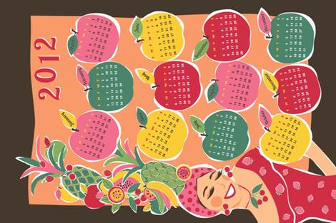 Carmen Calendar Tea Towel (for linen-cotton) fabric by gracedesign on Spoonflower - custom fabric