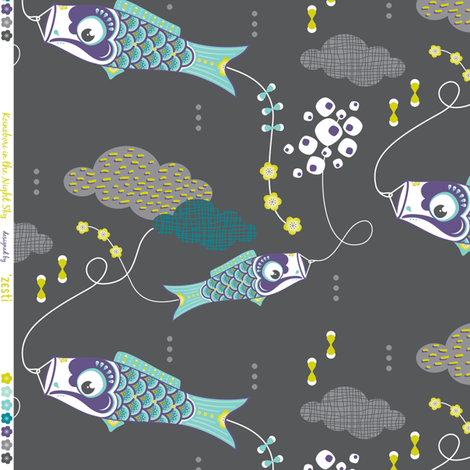 Koi No Bori (Japanese Koi Fish Kites) in the night sky BLUE fabric by zesti on Spoonflower - custom fabric