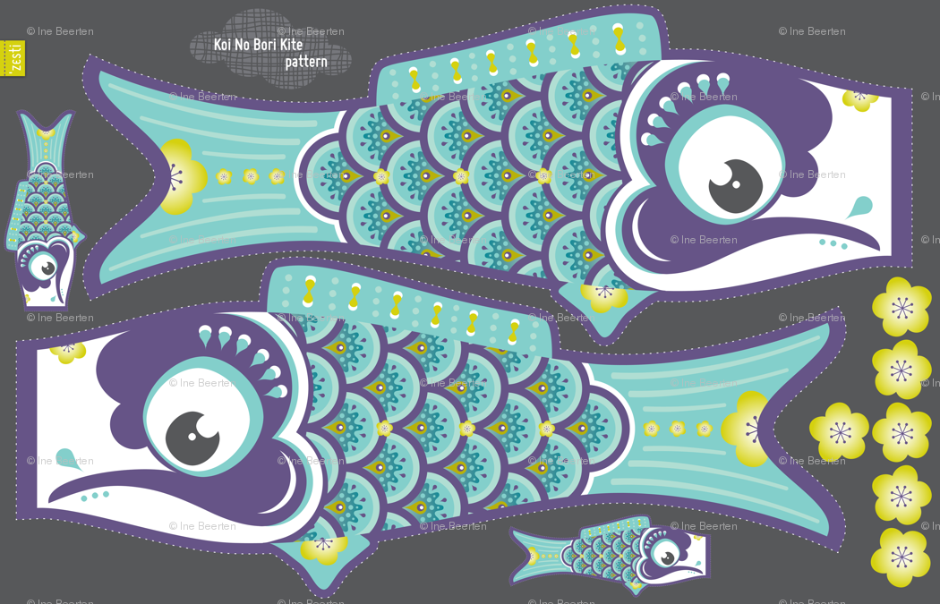 Image gallery koinobori template for Koi fish kite
