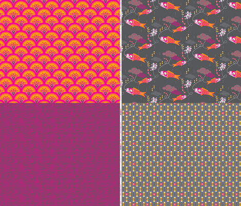Koi No Bori Collection Sampler fabric by zesti on Spoonflower - custom fabric
