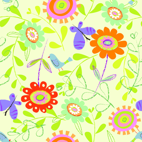 Bird and Butterfly Floral fabric by redfish on Spoonflower - custom fabric