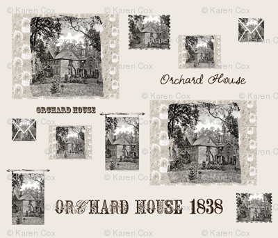 Orchard House, home of Little Women on beige