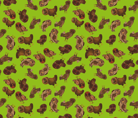 eco owls  fabric by jaja on Spoonflower - custom fabric