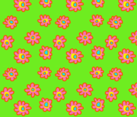 Bright Flowers-Green fabric by mammajamma on Spoonflower - custom fabric