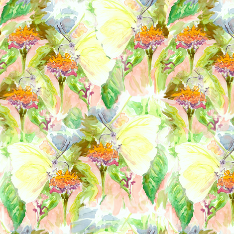 Butterfly watercolor fabric by eclectic_house on Spoonflower - custom fabric
