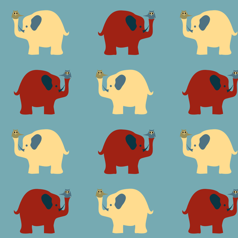 elephants_and_owls-ed fabric by kri8f on Spoonflower - custom fabric
