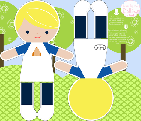 Blonde Boy Action Figure fabric by natitys on Spoonflower - custom fabric