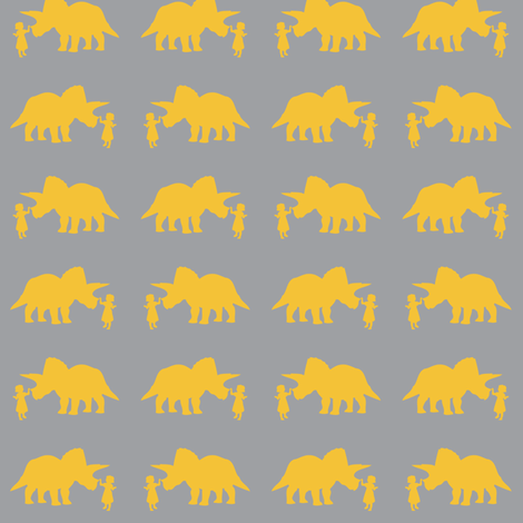 Pet Triceratops (Gray/small scale) fabric by laurawilson on Spoonflower - custom fabric