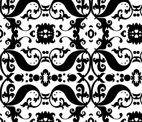Damask with white hearts Black on White fabric by nb_design on Spoonflower - custom fabric