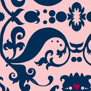 Damask with pink hearts blue on light pink