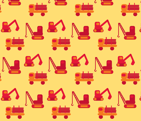 trucks - red fabric by krihem on Spoonflower - custom fabric