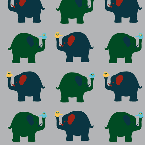 elephants and owls - gray background fabric by krihem on Spoonflower - custom fabric