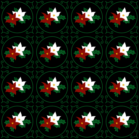 Poinsettia Pair of Seasonal Flowers (Night Black) fabric by taracrowleythewyrd on Spoonflower - custom fabric