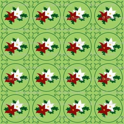 Poinsettia Pair of Seasonal Flowers (Holiday Green)
