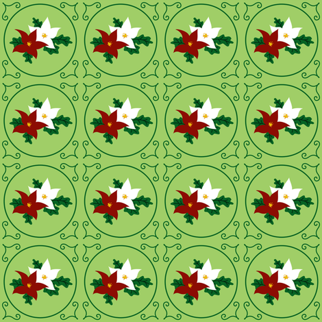 Poinsettia Pair of Seasonal Flowers (Holiday Green) fabric by quiltsmith on Spoonflower - custom fabric