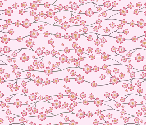 Pink Cherry Blossom fabric by kezia on Spoonflower - custom fabric
