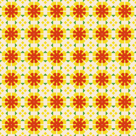 Retro Flower Garden fabric by stoflab on Spoonflower - custom fabric