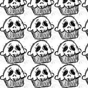 Grey Skull Cupcake