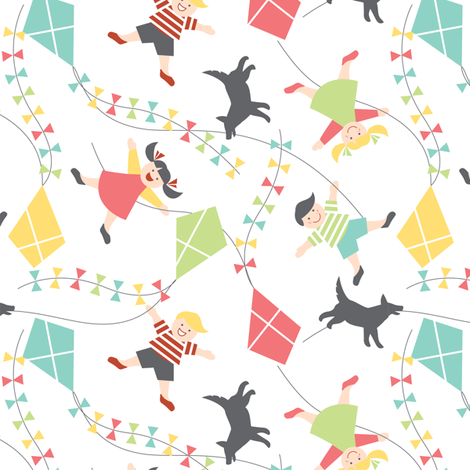Fun with kites fabric by cjldesigns on Spoonflower - custom fabric