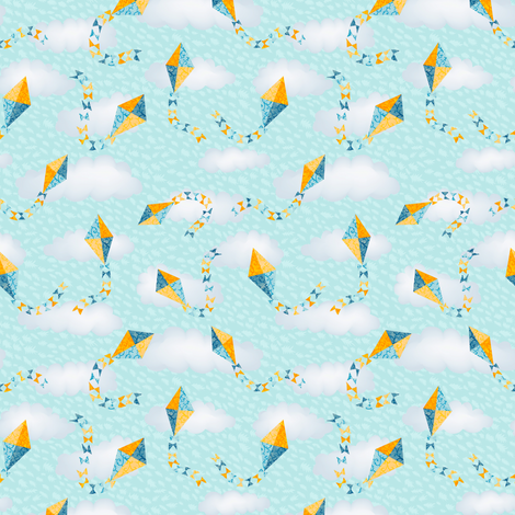 Kites in the Clouds fabric by kezia on Spoonflower - custom fabric