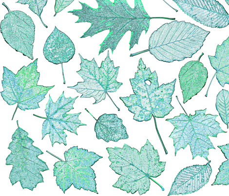 leaf etchings in teal fabric by weavingmajor on Spoonflower - custom fabric
