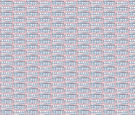 Meg's skirt: blue and white gelati teeth on pink, small fabric by su_g on Spoonflower - custom fabric